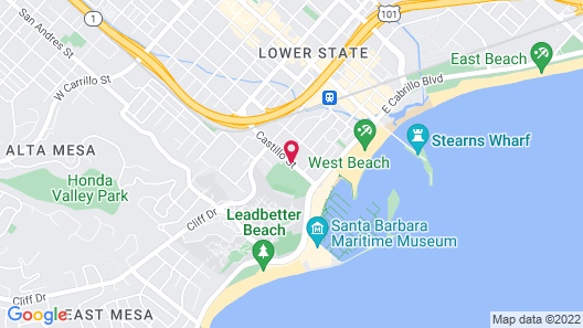 Avania Inn of Santa Barbara Map
