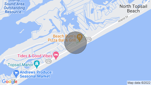 Camp at the Beach! Unique vacation experience at beautiful N Topsail Beach, NC. Map