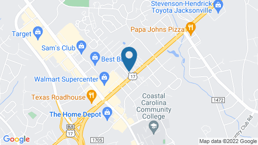 Quality Inn Jacksonville near Camp Lejeune Map