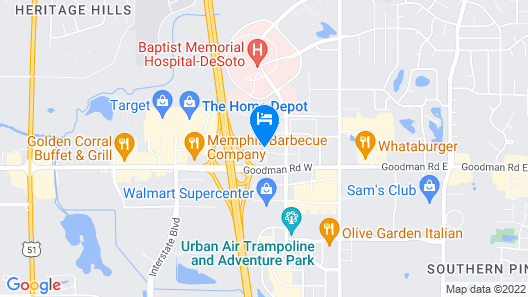 Hampton Inn Southaven Map