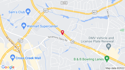 Motel 6 Fayetteville, NC - Fort Bragg Area Map