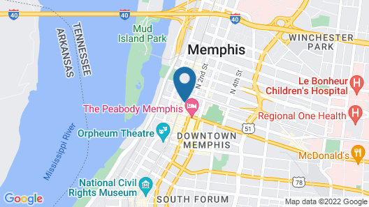 Residence Inn by Marriott Memphis Downtown Map