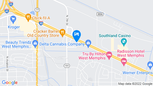 Holiday Inn Express and Suites West Memphis Map