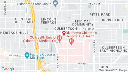 Lincoln Lodge Bnear OU Med, Bricktown, Arena Map