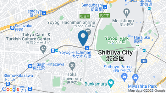 almond hostel & cafe Shibuya Map