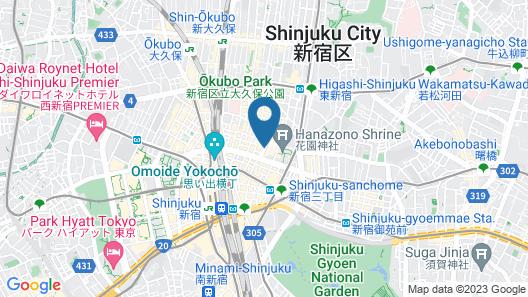 Shinjuku Kuyakusho-mae Capsule Hotel Map