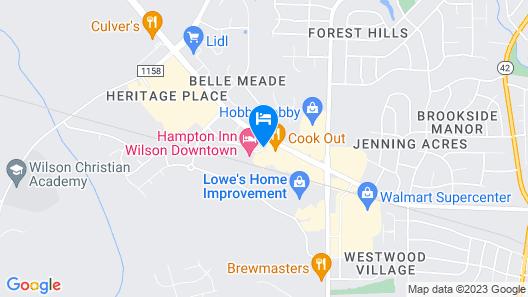 Hampton Inn Wilson Downtown Map
