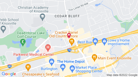 OYO Hotel Knoxville TN Cedar Bluff I-40 Map