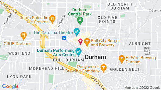 21c Museum Hotel Durham - MGallery Map