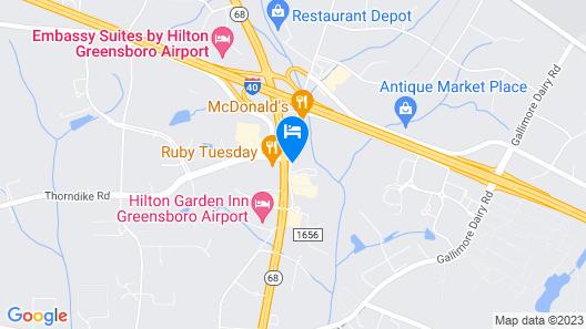 Motel 6 Greensboro, NC - Airport Map