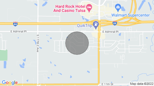 Tulsa whole home near Hard Rock Casino and I-44 with large fenced backyard  Map