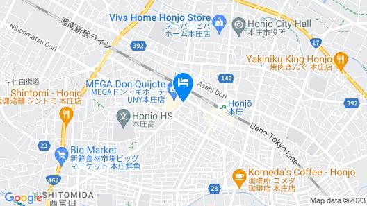 Hotel Route-Inn Honjo Ekiminami Map