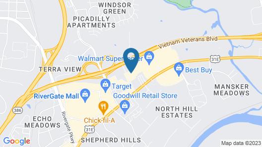 WoodSpring Suites Nashville near Rivergate Map
