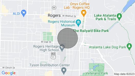 Super Cozy Downtown Rogers Cottage Map