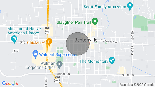 2nd Street Retreat: Cozy Studio -So Close You Can Walk/bike Downtown Bentonville Map