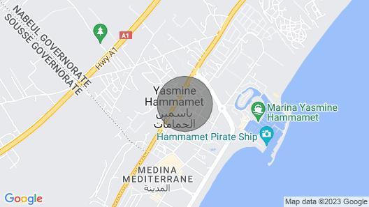 Belle vue appartement situé à Yasmine Hammamet avec jardin, piscine  Map