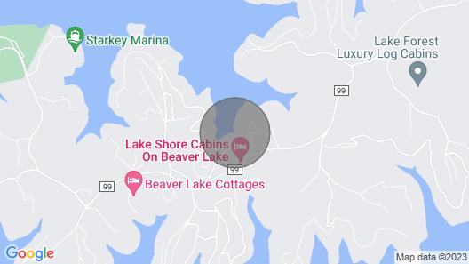 Lake Shore Cabin on Beaver Lake with Boat Dock w/Slips Map