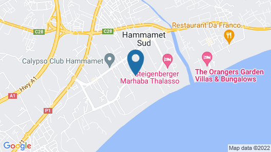 Apartment With 2 Bedrooms in Hammamet, With Wonderful sea View, Shared Pool, Balcony - 100 m From the Beach Map