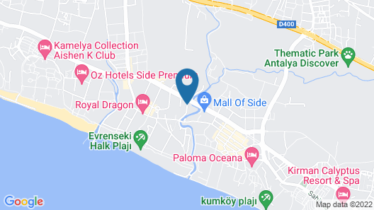 Palm World Resort & Spa Side - All Inclusive Map