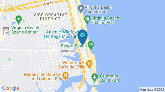 Hampton Inn Virginia Beach-Oceanfront South Map