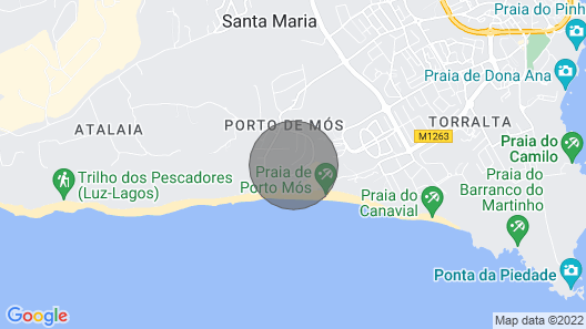 5* Beach View Apartment in Porto de Mos 150 metres from the beach! Map