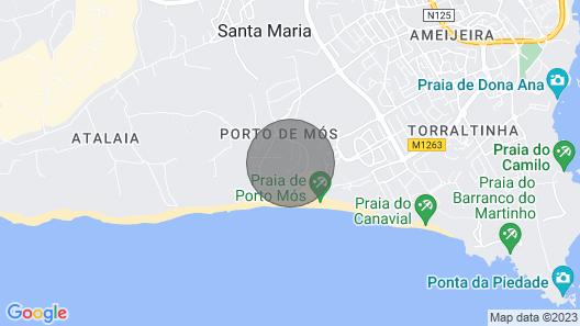Sleek Modern Beach Apartment, Porto de Mos, Lagos Map