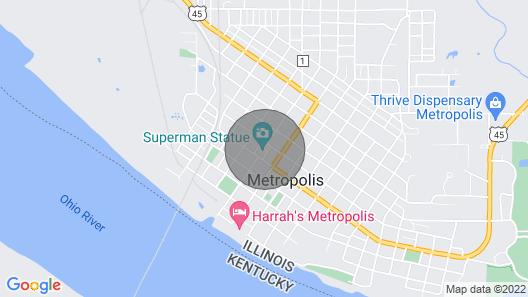 Come Stay in the Historic Downtown District of Metropolis, IL. Home of Superman Map