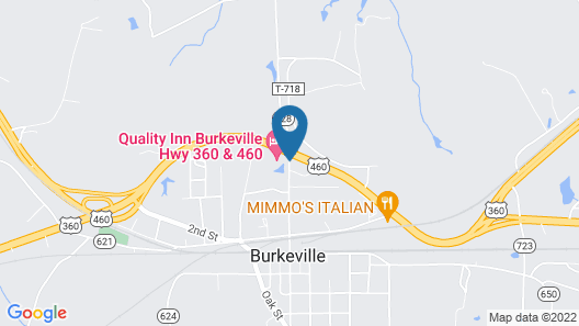 Quality Inn Burkeville Hwy 360 & 460 Map