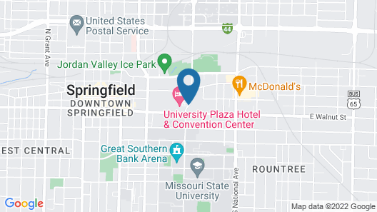 University Plaza Hotel and Convention Center Springfield Map