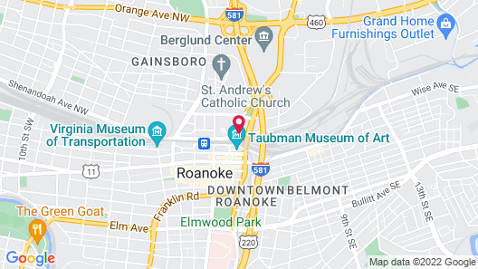 Hotel Roanoke & Conference Ctr, Curio Collection by Hilton Map