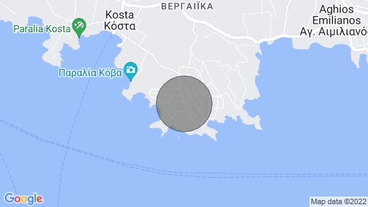 Beach front villa with Spetses view  Map
