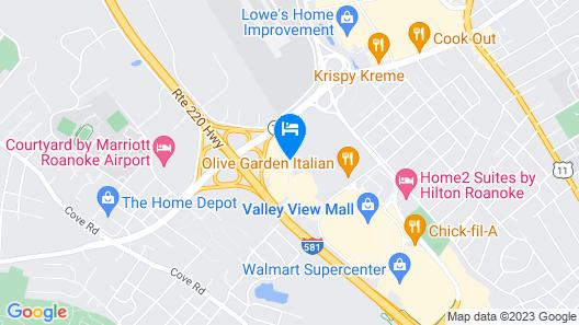 Hampton Inn & Suites Roanoke Airport Map