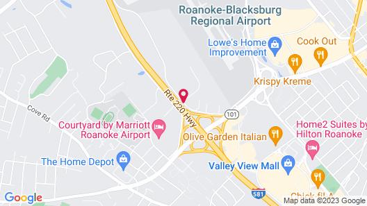 Carla Inn & Suites Roanoke Airport Map