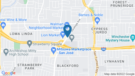 TownePlace Suites by Marriott San Jose Cupertino Map