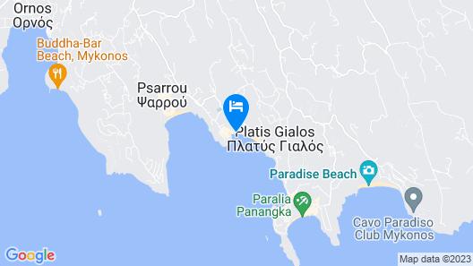 Mykonos Kosmoplaz Beach Resort Hotel Map