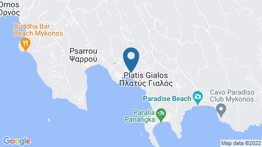 Mykonos Dove Beachfront Hotel Map