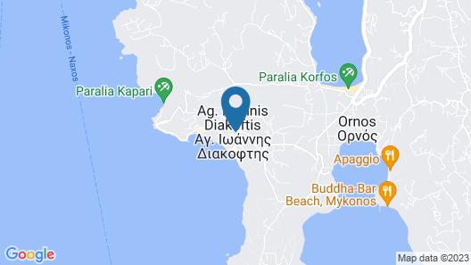 Manoulas Beach Mykonos Resort Map