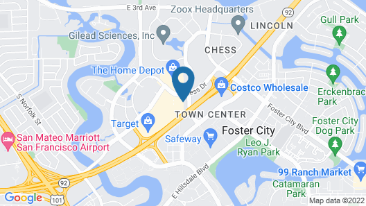 TownePlace Suites San Mateo Foster City Map