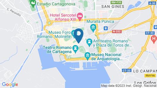 Apartment Duque downtown Cartagena. Parking Map