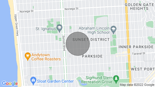 Large studio in San Francisco's Sunset District provides needed tranquility after a day of exploring. Map