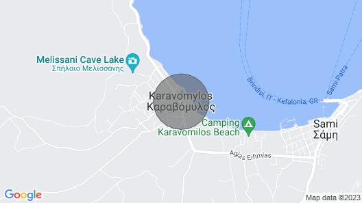 Fantastic Beach Front Apartments in Karavomylos, Kefalonia, Chloe Apartment Map