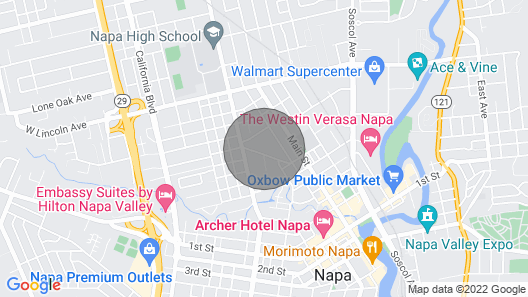 Downtown Napa Cottage- Walking Distance to City Center Map