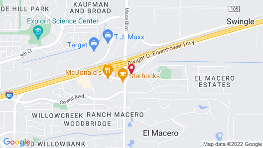 Motel 6 Davis, CA - Sacramento Area Map