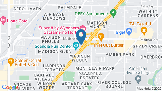 Motel 6 Sacramento, CA - North Map
