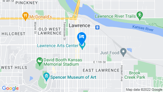TownePlace Suites Lawrence Downtown Map