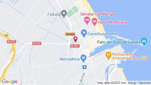 Apartamentos Gandía Universidad 3000 Map