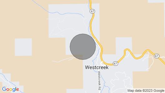 Bell Rock Retreat: Panoramic View OF Pikes Peak, 80 Acres, Babbling Creek Map