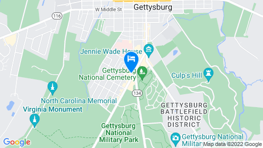Walk to Gettysburg Attractions-located in Gettysburg Tourist District Map