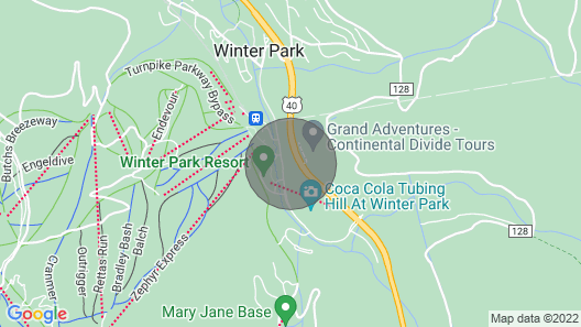 Updated Ski-in / Ski-out Studio Condo at the Base of Winter Park Resort Map