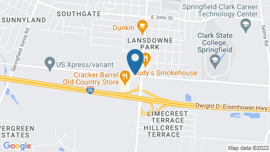 USA Inn and Suites Springfield Ohio Map